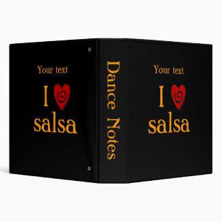 I Love Salsa Swirl Heart Latin Dancing Custom Vinyl Binder