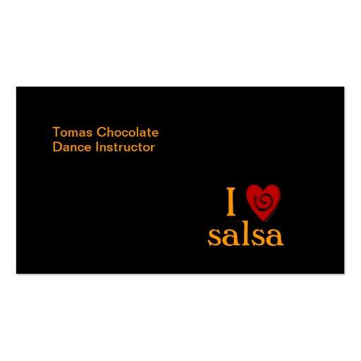 I Love Salsa Swirl Heart Latin Dancing Custom Business Cards