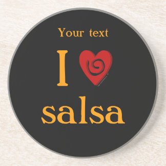 I Love Salsa Swirl Heart Latin Dancing Custom Beverage Coaster