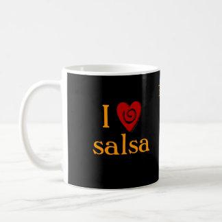 I Love Salsa Swirl Heart Latin Dancing Custom Coffee Mug