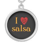 I Love Salsa Swirl Heart Latin Dancing Custom Personalized Necklace