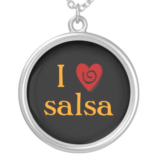 I Love Salsa Swirl Heart Latin Dancing Custom Personalized Necklace