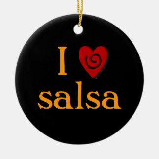 I Love Salsa Swirl Heart Latin Dancing Custom Christmas Tree Ornament