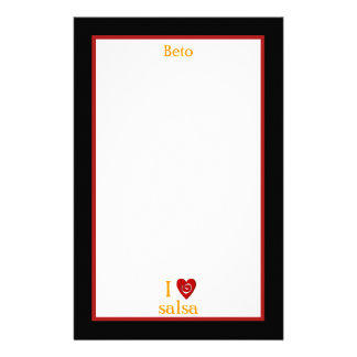 I Love Salsa Swirl Heart Latin Dancing Custom Stationery Paper