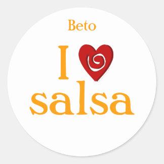 I Love Salsa Swirl Heart Latin Dancing Custom Round Sticker