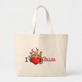 I love Salsa tote bag heart on fire