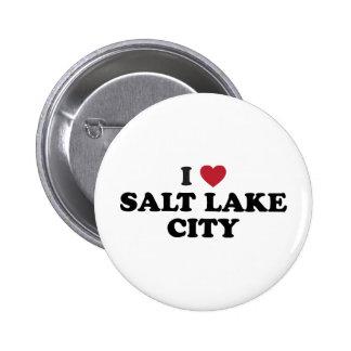 I Love Salt Lake City Utah Pinback Buttons