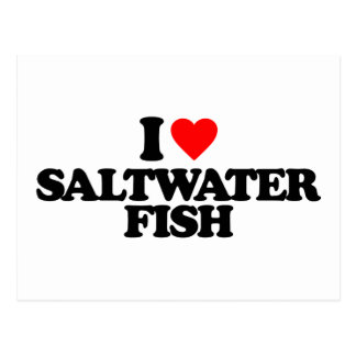 I LOVE SALTWATER FISH POSTCARD
