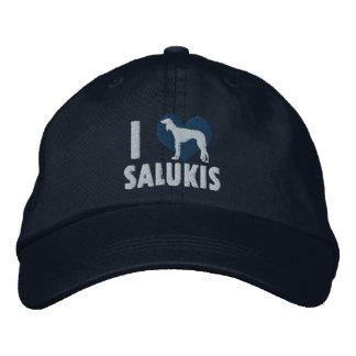 I Love Salukis Embroidered Hat (Blue)
