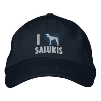 I Love Salukis Embroidered Hat (Blue)