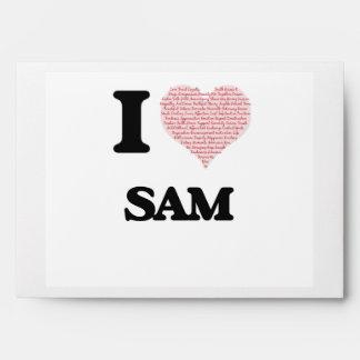 I Love Sam (Heart Made from Love words) Envelope