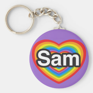 I love Sam. I love you Sam. Heart Keychain
