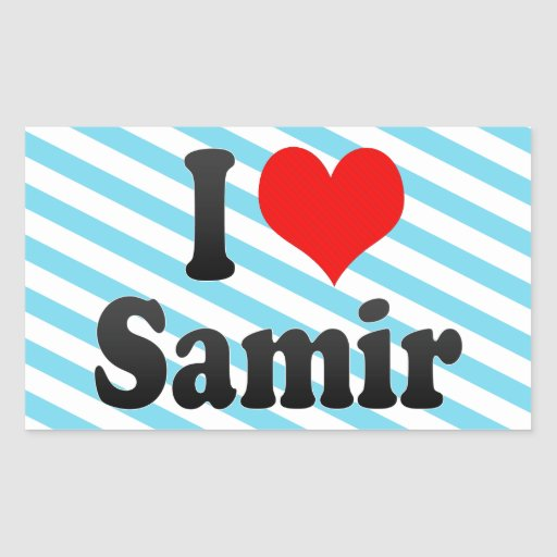 I love Samir Rectangular Sticker