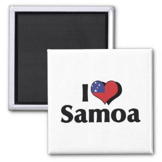 I Love Samoa Flag 2 Inch Square Magnet