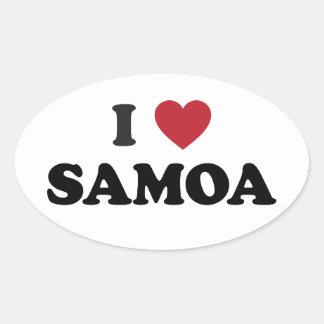 I Love Samoa Oval Sticker