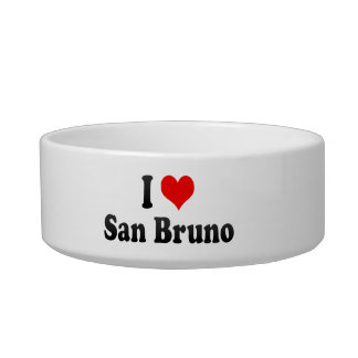I Love San Bruno, United States Cat Water Bowls