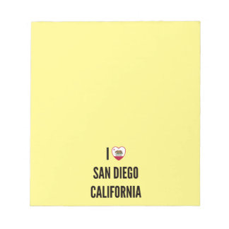 I Love San Diego, California Note Pad