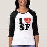 I love san francisco bridge heart tee shirt