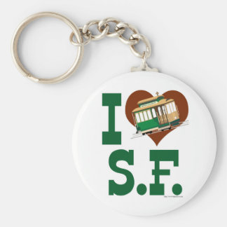 I love San Francisco Cable Cars Basic Round Button Keychain