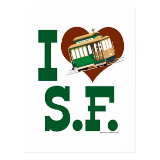 I love San Francisco Cable Cars Postcard