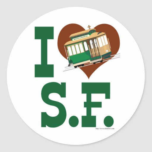 I love San Francisco Cable Cars Classic Round Sticker