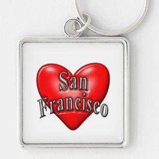 I Love San Francisco Silver-Colored Square Keychain