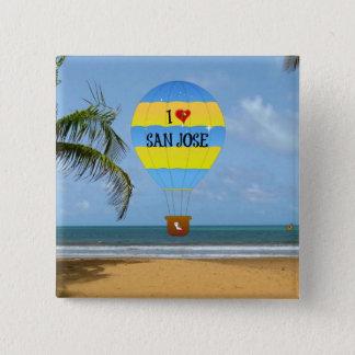 I Love San Jose Hot Air Balloon Beach Scene Pinback Button