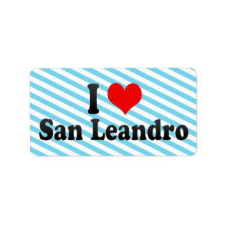 I Love San Leandro, United States Personalized Address Labels
