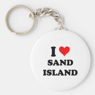 I Love Sand Island Hawaii Keychains