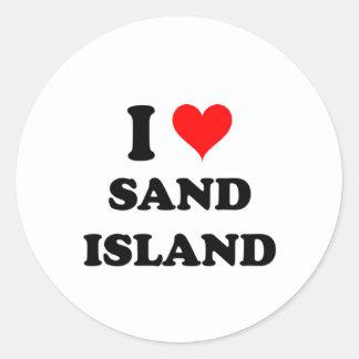 I Love Sand Island Hawaii Round Stickers