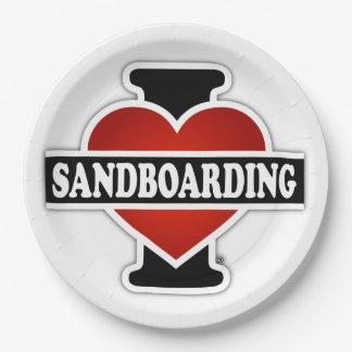 I Love Sandboarding Paper Plate