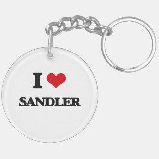 I Love Sandler Double-Sided Round Acrylic Keychain