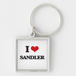 I Love Sandler Silver-Colored Square Keychain