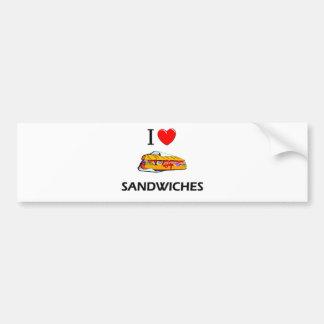 I Love Sandwiches Car Bumper Sticker