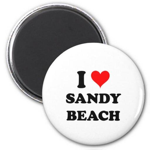 I Love Sandy Beach Alaska Refrigerator Magnets