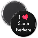 I Love Santa Barbara 2 Inch Round Magnet