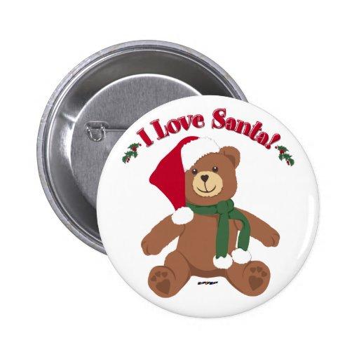 I Love Santa! Christmas Teddy Bear 2 Inch Round Button