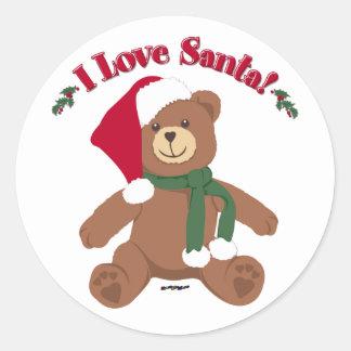 I Love Santa! Christmas Teddy Bear Classic Round Sticker
