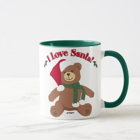 I Love Santa! Christmas Teddy Bear Mug