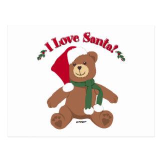 I Love Santa! Christmas Teddy Bear Postcards