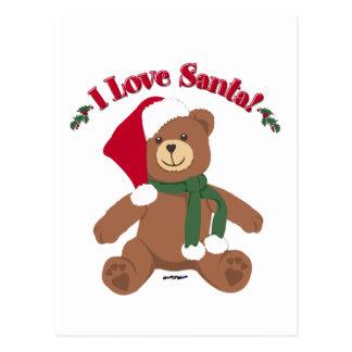I Love Santa! Christmas Teddy Bear Postcard