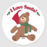 I Love Santa! Christmas Teddy Bear Round Stickers