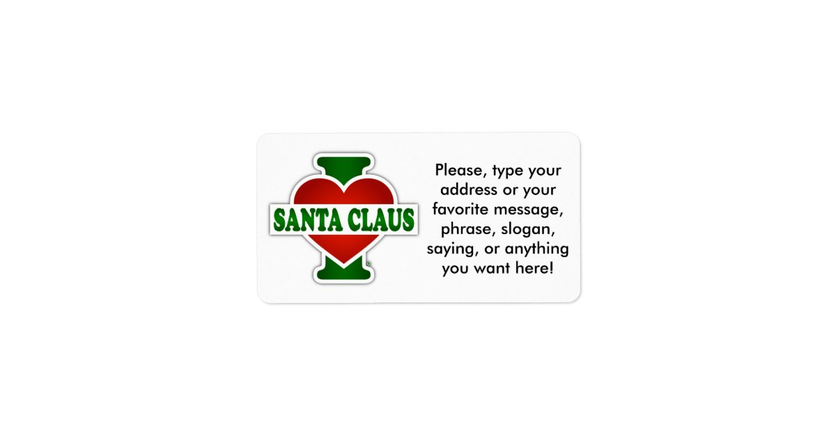 Love santa claus address label zazzle