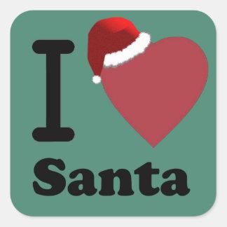 I Love Santa Square Sticker