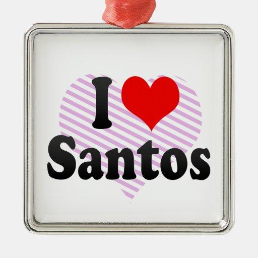 I love Santos Christmas Tree Ornaments
