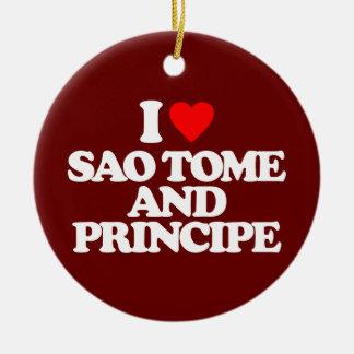 I LOVE SAO TOME AND PRINCIPE CHRISTMAS ORNAMENT
