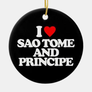 I LOVE SAO TOME AND PRINCIPE CHRISTMAS TREE ORNAMENT
