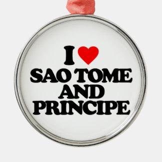 I LOVE SAO TOME AND PRINCIPE CHRISTMAS ORNAMENTS