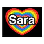 I love Sara. I love you Sara. Heart Postcard