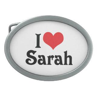 I Love Sarah Oval Belt Buckle